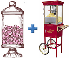 Candy Bar and Popcorn Cart Hire Deal